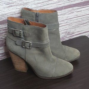 Lucky brand green bootes with a heel. size 9.5